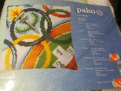 Pako Olympic Rings & Torch Needlepoint Pillow/Picture Kit-40x40cm/16x16 Inches