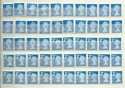50 2nd Class Unfranked GB Stamps Off Paper