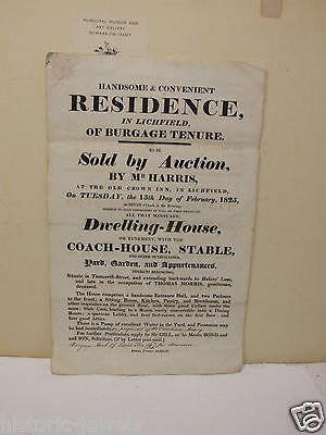 Lichfield Burgage residence sale 1825 poster and details