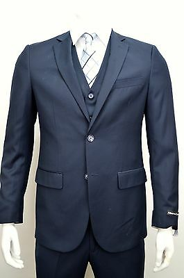 Men's Navy Blue 3 Piece 2 Button Slim Fit Suit SIZE 38S NEW