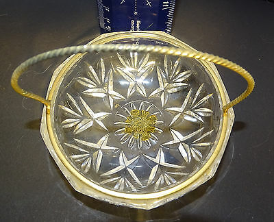 """Small glass basket with """"gold"""" handle and trim"""