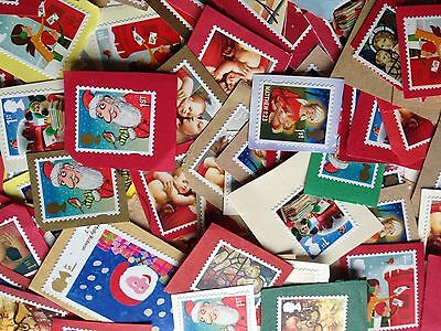 100 x 1st First Class Xmas Christmas Unfranked Stamps On Coloured Paper