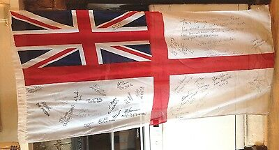 USED BRITISH NAVY SHIPS FLAG UNION JACK From THE HMS Grimsby Signed by the Crew