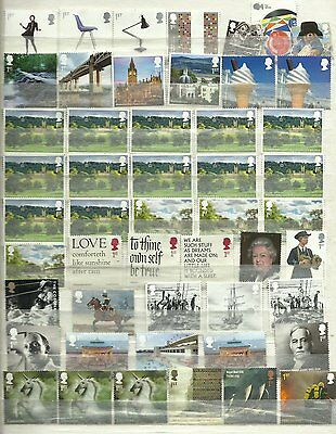 50 1st Class Unfranked GB Commemorative Stamps Off Paper