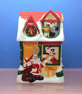 Russell Stover Candies Looney Tunes 1997 Plastic Christmas House Bank Bugs Bunny