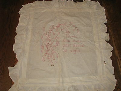 """antique red work embroidered pillow cover_""""Sweet Lilies......""""_cutter linen?"""