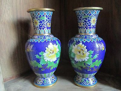 Gorgeous Pair of Chinese Cloisonne Enamelled Brass Vases - Flowers & Butterfly