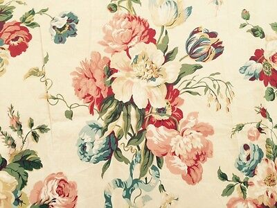 Schumacher Fabric - 3.5 Yds Gorgeous Pink Blue Red Floral Bouquets On Cream