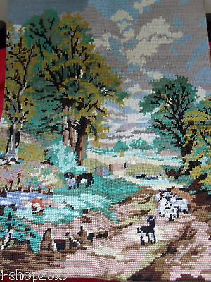 Large Fleur de Lis completed cross-stitch wool tapestry goats mountain 50cmx38cm
