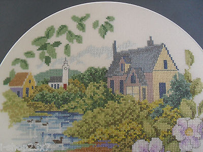 Completed fine cross-stitch needlepoint tapestry house lake church flowers 29cm