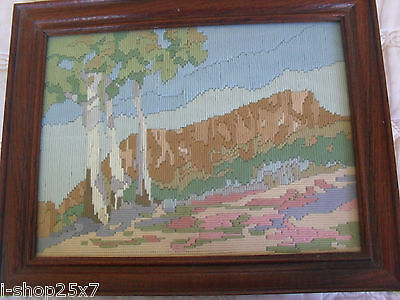 Framed completed wool embroidery needlepoint tapestry hill landscape 31 x 23cm