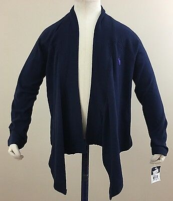 Ralph Lauren Girls Navy Open-Front Jersey Cardigan. Size Small (7). NWT