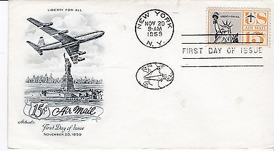 First day cover, Sc #C58, Statue of Liberty,  Mellone 2, Artmaster cachet, 1959