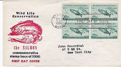 First day cover, Sc #1079 BL4, Wildlife-Salmon, Mellone #13, Grandy cachet, 1956