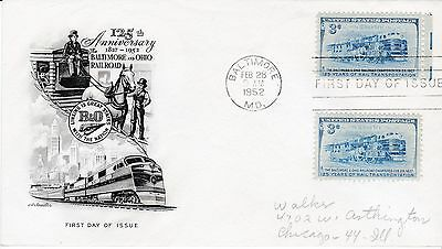 First day cover, Sc #1006, B&O Railroad, Planty 1006-5, Artmaster, 1952