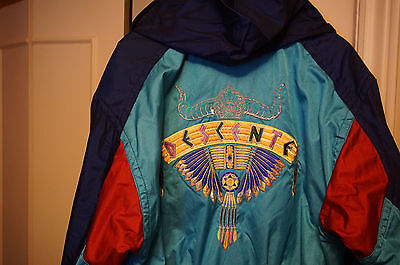 Descente ski suit onesie vtg Canada rare Native Amerian Ed M snow jacket bib