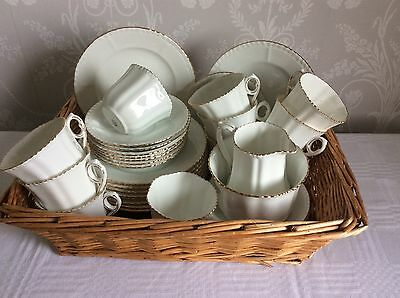 Antique/ Vintage/ Art Deco Phoenix English China Tea Set For 10 White And Gold