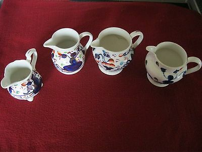 Antique Allerton gaudy welsh creamer jugs oyster pattern .
