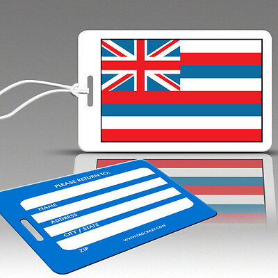 TagCrazy Luggage Tags, Hawaii State Flag Design, Durable Plastic Loops-3 Pack