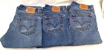 Men's Levi's 501 Classic Fit Straight Leg Button-Fly Jeans 34 x 38  Lot of 3