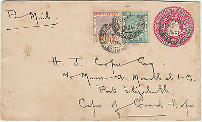 1895 British Guiana Uprated PSE Cover to Cape of Good Hope South Africa
