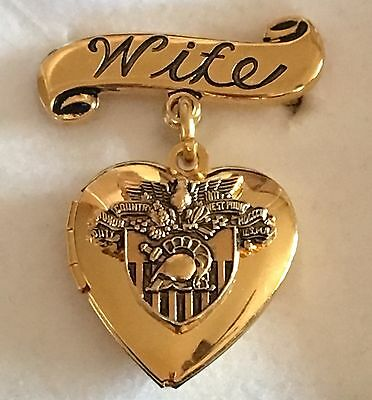 Vintage West Point Military Academy Sweetheart Wife Heart Locket Pin