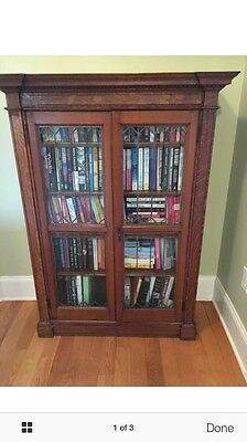 Antique Carved Oak Bookcase with Leaded Glass Doors
