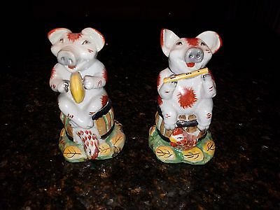 Pair of Vintage Porcelain Ceramic Pigs - Musical Instruments Detailed Painting