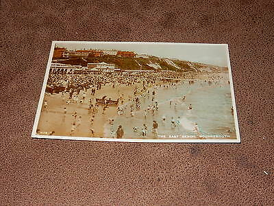 1930s Wade Sunny South Real photo Postcard-Busy bathing scene Bournemouth Dorset