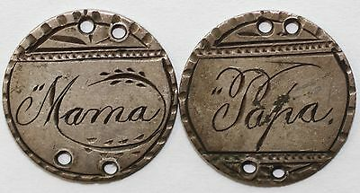 """Love Tokens Engraved """"Mama"""" & """"Papa"""" on Silver Seated Liberty Dimes"""