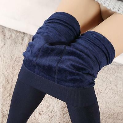 Women Winter Thick Warm Fleece Lined Thermal Stretchy Leggings Pants Navy  NEW