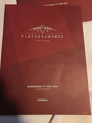Ultra Rare southampton Players Awards Programme 2015/16 With Signed Squad Sheet