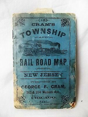 Vintage 1887 New Jersey Railroad and County Map