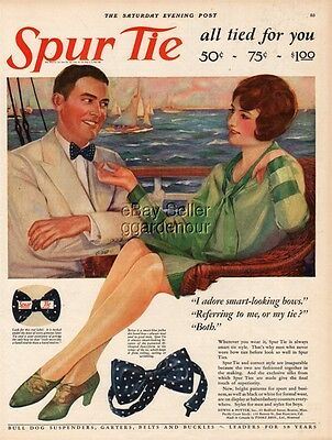 1927 Sailing Sailboat Art 1920's Fashion Spur Bow Tie Flapper Girl Mens style Ad