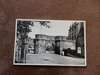 Early postcard - West Port St Andrews -Fife  Scotland - old cars
