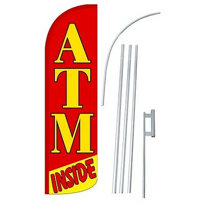 Atm Inside Extra Wide Windless Swooper Flag Jumbo Banner kit made USA (1)