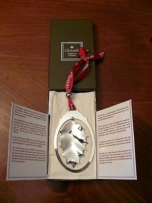 Christofle France 1984 Silverplate 'holly Leaf' Christmas Annual Ornament Ltd.ed