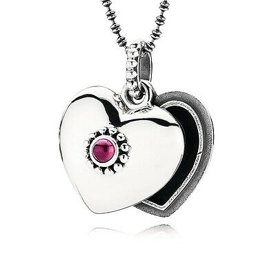 Genuine Pandora Sterling Silver Pink Heart Floating Locket Necklace with Box