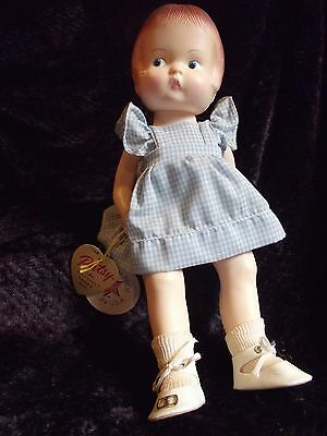PATSY DOLL EFFANBEE with tags in blue checkered dress, white shoes, stand 1986