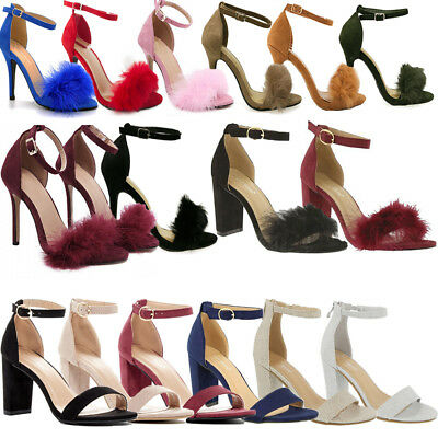 NEW Women Ankle Strap Fur Stiletto Pumps Open Toe Chunky Block High Heels Sandal