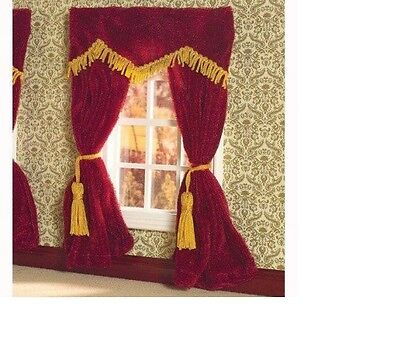 Dolls House Miniature 1:12th Scale Red Velvet Curtains