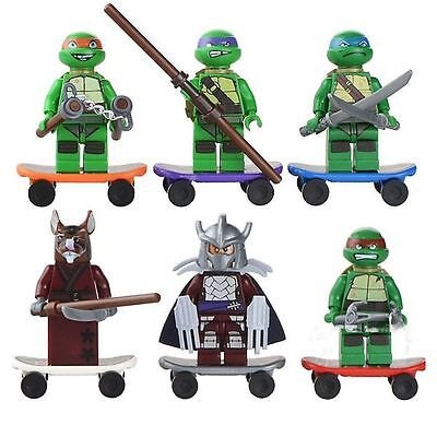 6Pcs Teenage Mutant Ninja Turtles TMNT Minifigures Blocks Building Toy fit Lego