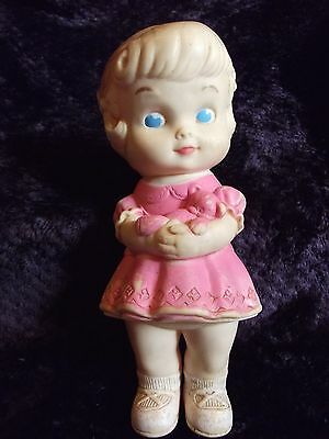 Sun Rubber Co. 8 inch doll in pink dress  Ruth E Newton SQUEAKER!!
