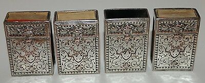 4 Vintage Silver Plated Match Box Holders Holder Cases Case