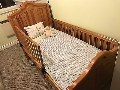 Junior Cot Bed, Oak, Mamas & Papas, With Storage Draw
