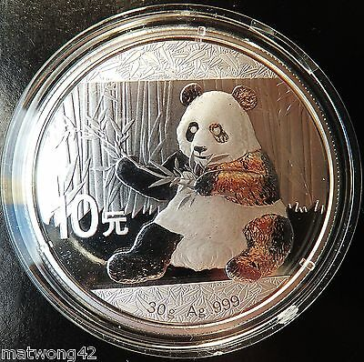 ** 30 grams Silver CHINESE PANDA 2017 CHINA .999 10 YUAN CAPSULATED Bullion **