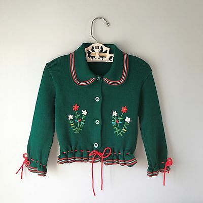 Vintage 1950's Embroidered Green Knit Cardigan by Renzo Made in Italy 2t 3t