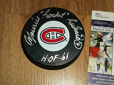 MAURICE RICHARD MONTREAL CANADIENS PUCK AUTOGRAPHED with INSCRIPTION and JSA