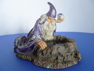 Wizard Medieval Sorcerer Mage w Crystal Ball Looking in Water Fantasy Figurine