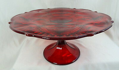 """11"""" Inverted Thistle Ruby Red Glass Cake Plate Stand Salver"""